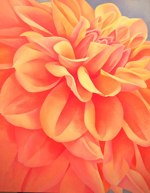 A painting of a close view of a Dahlia flower