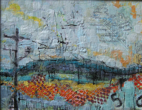 An encaustic wax artwork of a simple landscape