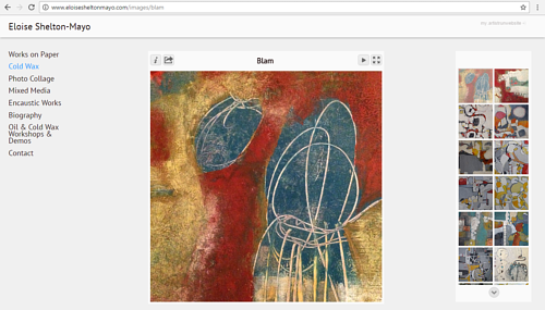 A screen capture of a gallery on Eloise Shelton-Mayo's art website