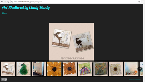 A screen capture of the main gallery on Cindy Manly's Art Shattered website