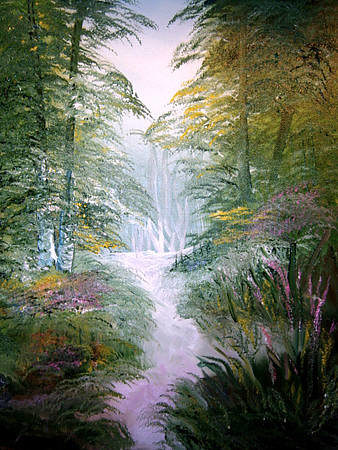 A painting of a small creek lined with trees