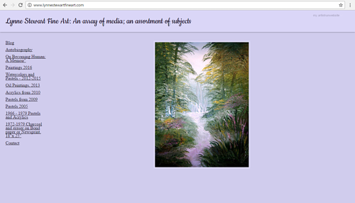A screen capture of Lynne Stewart's fine art website