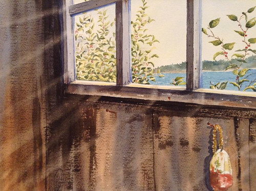 A watercolor painting of the interior of a fishing shack