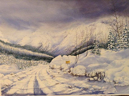 A watercolor painting of a winter landscape