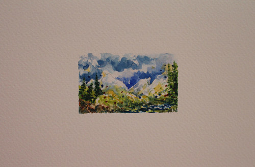 A miniature watercolor depicting a landscape