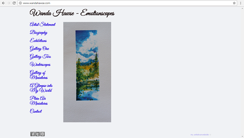 A screen capture of Wanda Hawse's website
