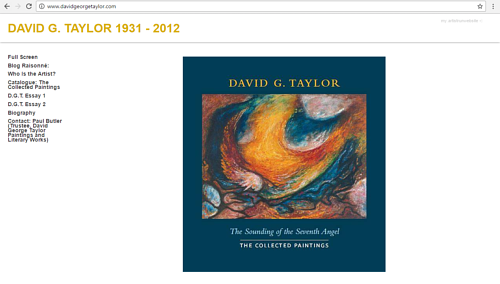 A screen capture of David G. Taylor's posthumous art website