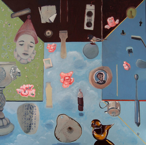 A painting of numerous objects floating on a surreal background