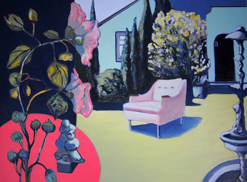 A painting of a chair in an unfamiliar environment