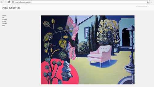 The front page of Kate Scoones' art website
