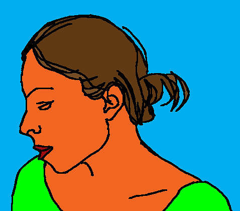 A digital drawing of a woman in profile