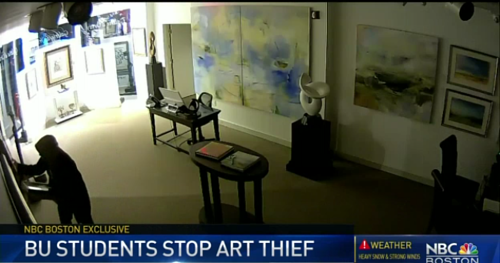 A screen capture of security camera footage of an art theft