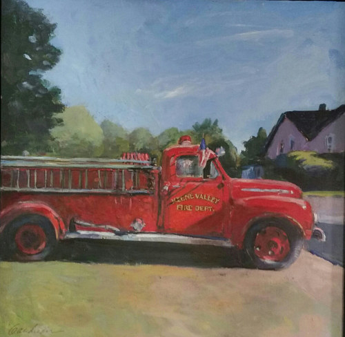 A pastel drawing of an antique fire truck