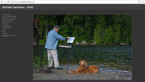 A screen capture of Michael Gaudreau's art website