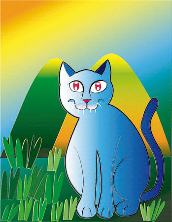 A digital illustration of a blue cat