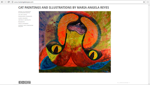 The front page of Maria Angela Reyes' art website