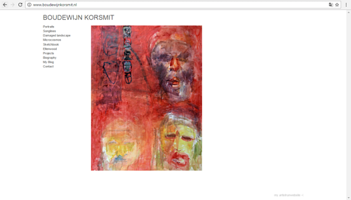 A screen capture of Boudewijn Korsmit's art website