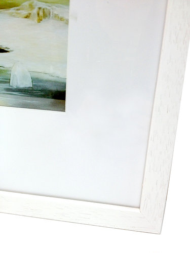 detail of corner of framed artwork