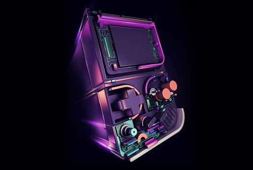 A digital illustration of a classic Gameboy by Rik Oostenbroek