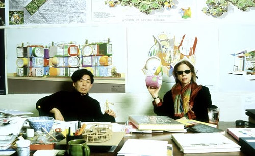 A photograph of the late Arakawa and Gins in their shared studio