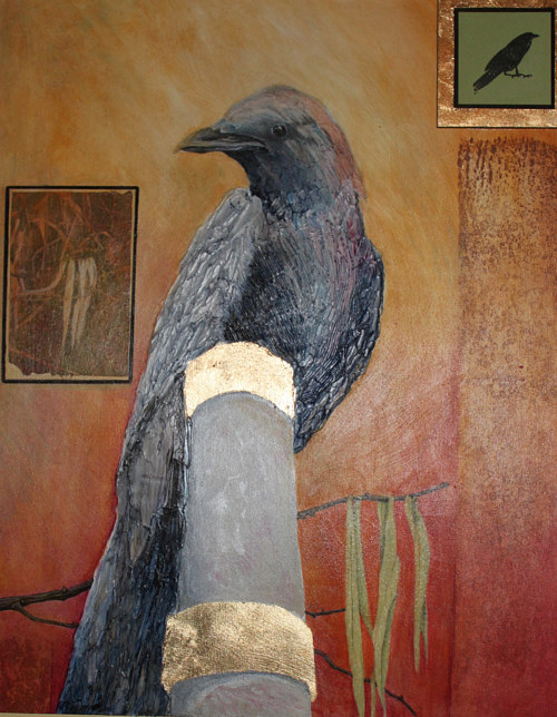 A mixed media artwork of a crow perched on a golden post