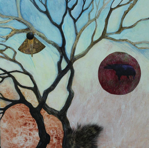 A mixed media artwork of a tree with symbolic objects