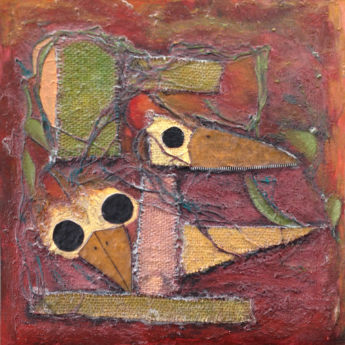 A mixed media artwork of abstracted birds