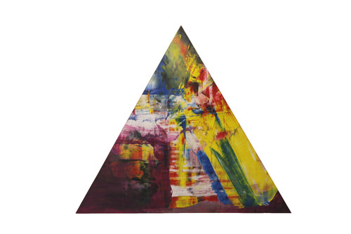 A triangular fresco with abstract colors