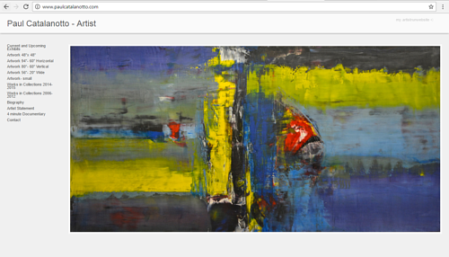 A screen capture of the front page of Paul Catalanotto's art website
