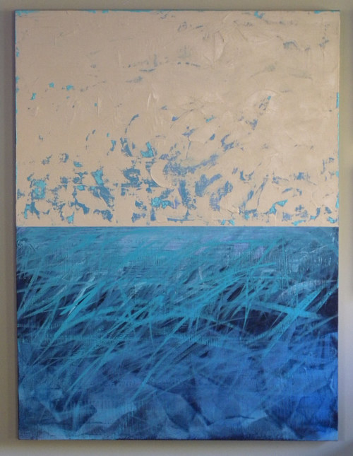 A painting with a textured blue panel