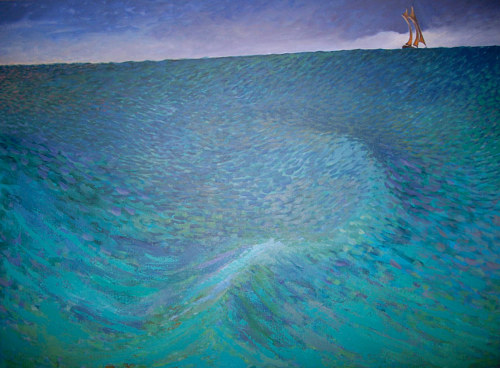 A painting of a swelling ocean wave
