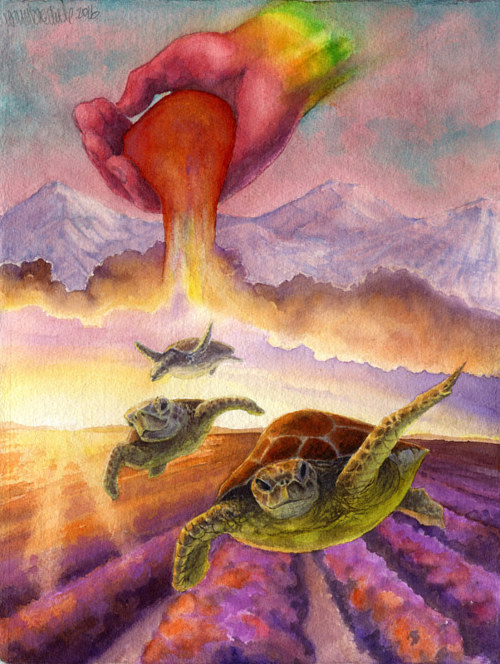 A watercolor painting of sea turtles flying through a dreamscape
