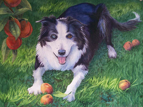 A painting of a happy dog