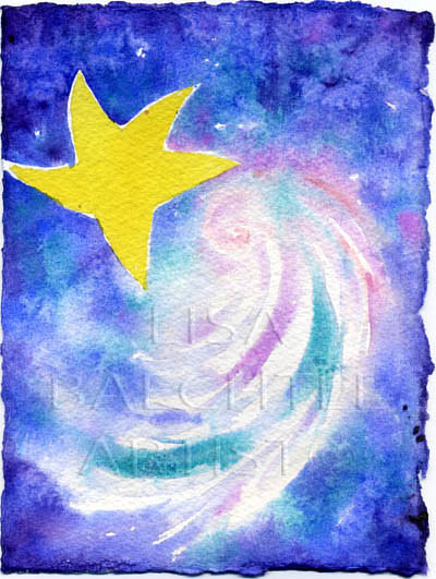 A watercolor painting of a star in the sky