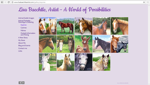 A gallery of equine portraits on Lisa Baechtle's art website