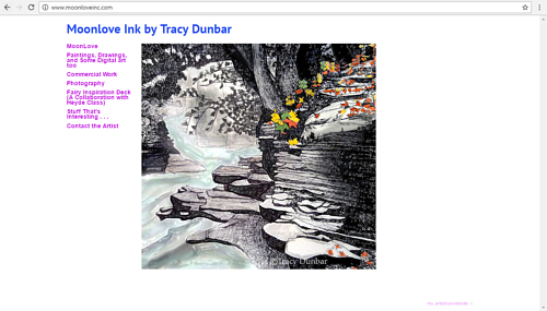 The front page of Tracy Dunbar's art website
