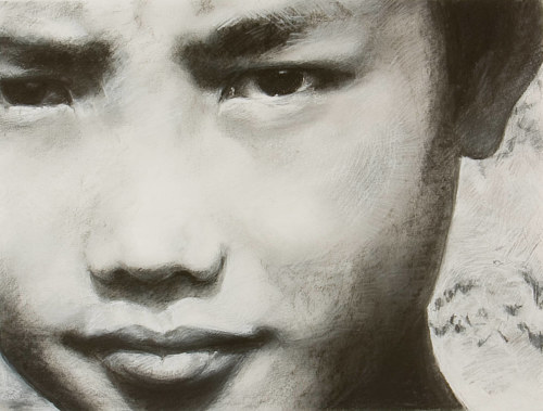 A charcoal drawing of a young boy named Samu