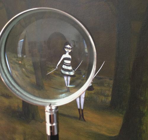 a painting of a woman seen through a magnify glass