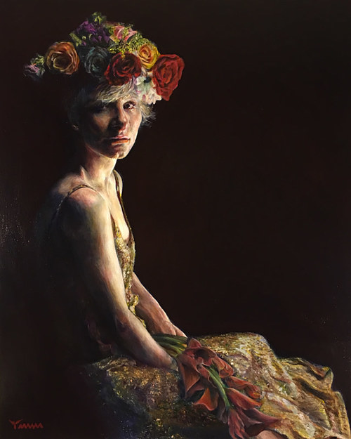A painting of a woman wearing a flowered headdress