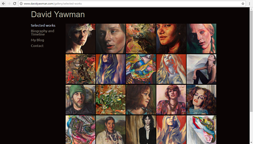A screen capture of David Yawman's art website