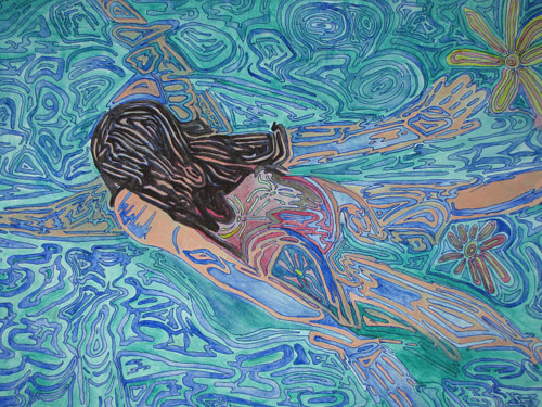 A mixed media artwork of a girl swimming