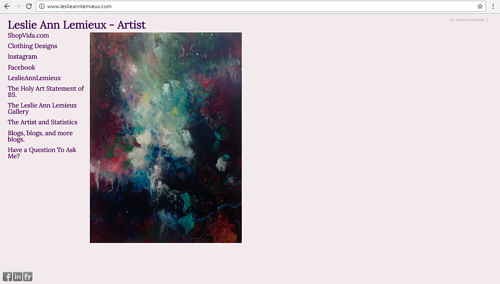 The front page of Leslie Ann Lemieux's art website
