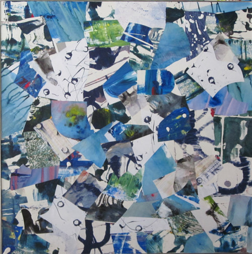 A mixed media artwork focused on blue tones