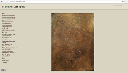 A screen capture of Mandira Bhaduri's online art space