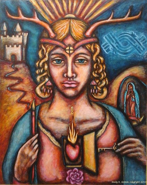 An acrylic painting of a figure with symbols and talismans