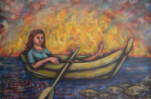 A painting of a female figure in a boat