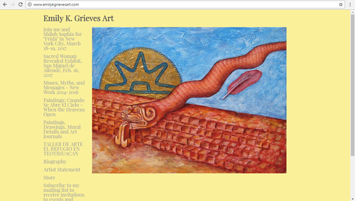A screen capture of Emily K. Grieves' art website