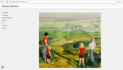 A screen capture of Serena Stevens' art website