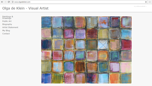 A screen capture of the front page of Olga de Klein's art website