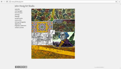 The front page of John Hovig's art website